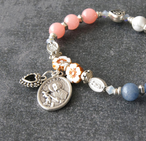 Pregnancy saint prayer bracelet, Gerard, roll on stretchy