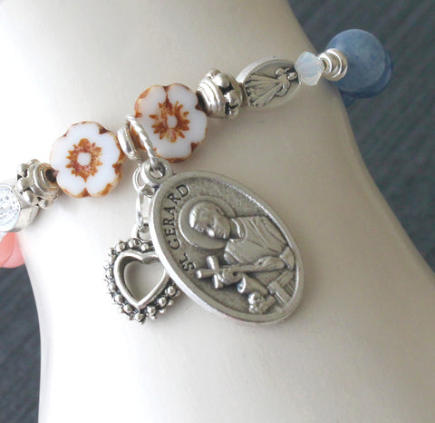 St Gerard Prayer Bracelet with Divine Mercy, Stretch Bracelet