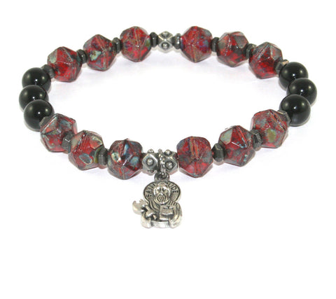 St Jude Stretch Catholic Bracelet, Gemstone & Glass Beads