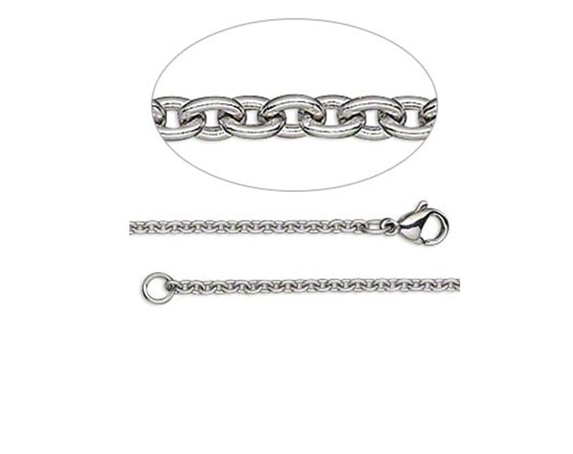 Stainless Steel Chain, 60cm, with clasp - 2.2mm links