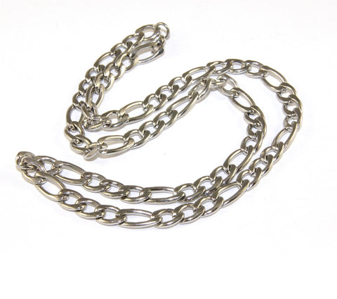 Stainless Steel Chain, Figaro Style, 50cm, with Clasp