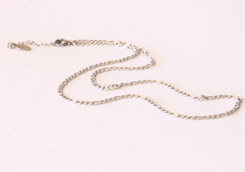 Stainless Steel Chain, Fine Figaro Style, 50cm with Clasp