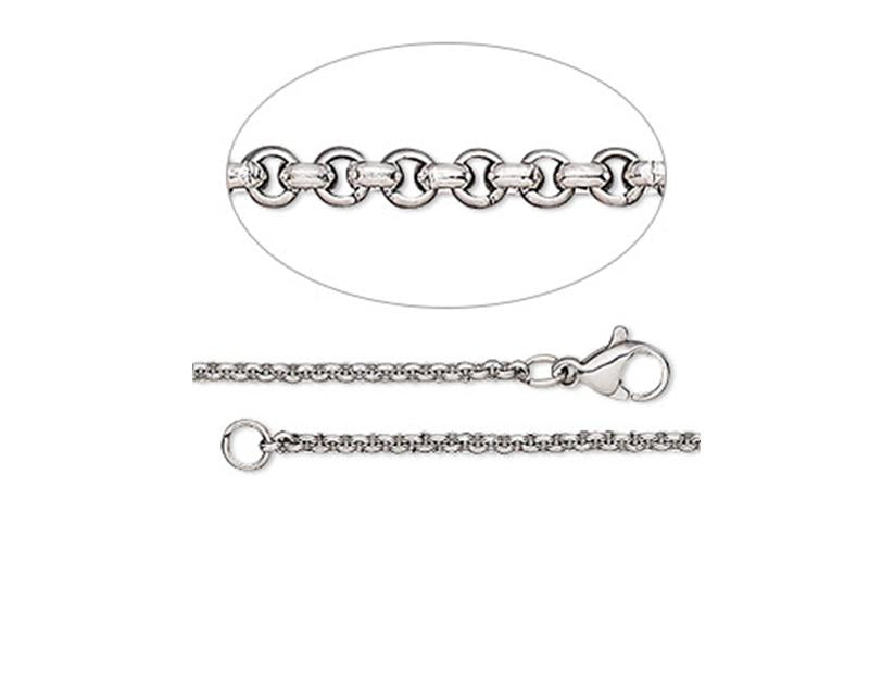 Stainless steel fine rolo chain for pendant
