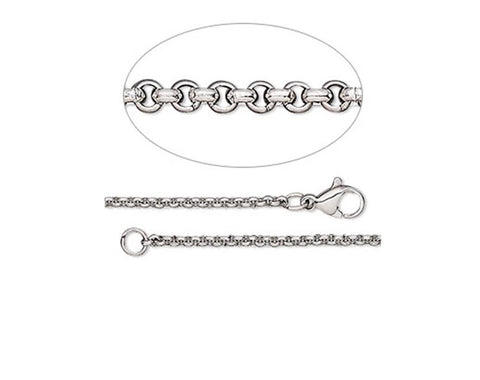 Stainless Steel Fine Rolo Chain, 40cm to 50cm, with clasp