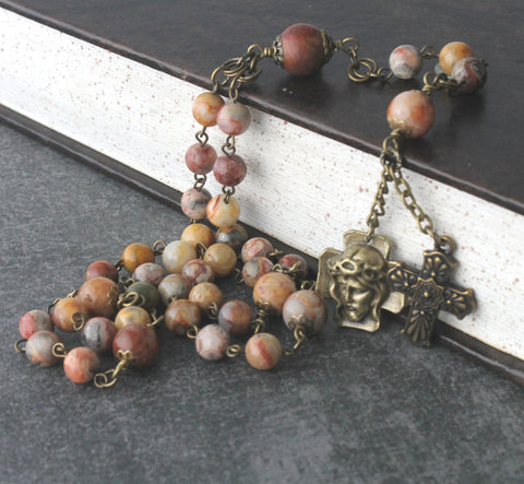 Chaplet of The Holy Face, Gemstone Agate Beads, Bronze Medal & Cross