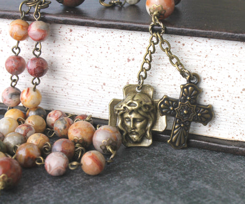 Holy Face chaplet rosary, agate gemstone beads