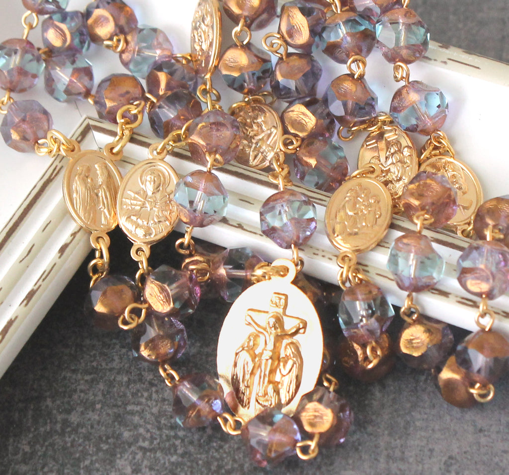 7 sorrows of Mary chaplet rosary, gold