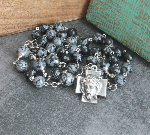 Chaplet of The Holy Face, Snowflake Obsidian Beads, Pewter Cross-Medal