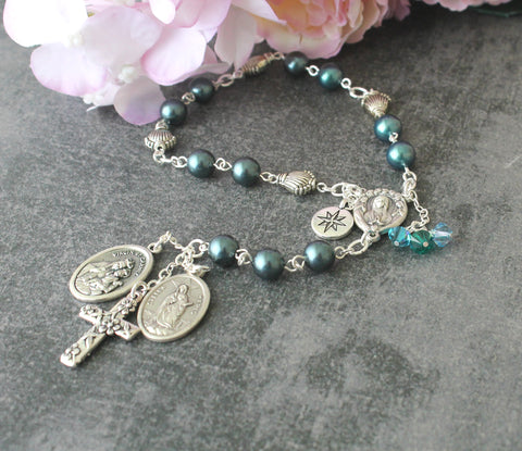 Star of the Sea - Stella Maris Chaplet Rosary, Swarovski Pearls