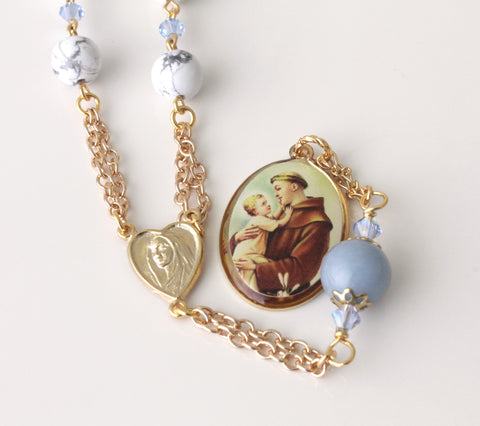 St Anthony Pocket Rosary, Gemstone Beads