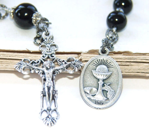 First Holy Communion Single Decade Rosary, Black Onyx Beads