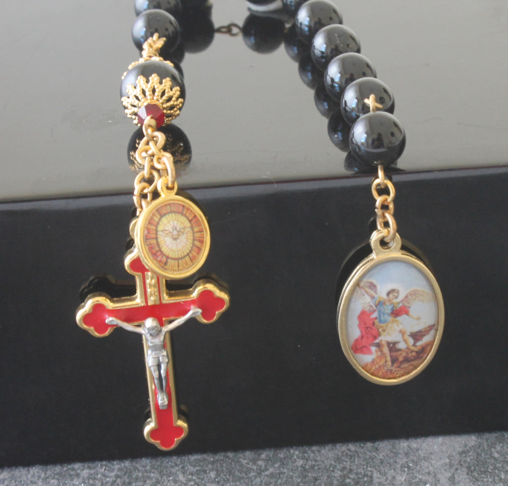 St Michael Archangel black & red tenner rosary