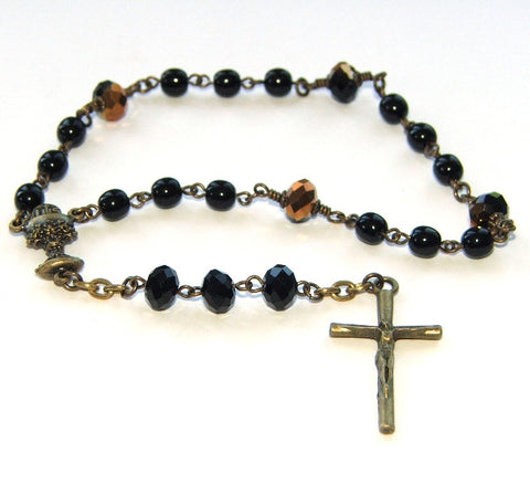 First Holy Communion Chaplet Rosary, Black & Gold