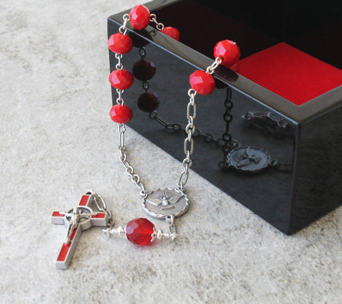 Holy Ghost Pocket Rosary, Red Saint Benedict Crucifix