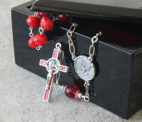 Red confirmation pocket rosary, RCIA gift, Catholic handmade