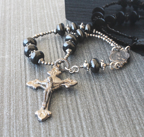 Mans pocket rosary, black onyx Catholic prayer beads