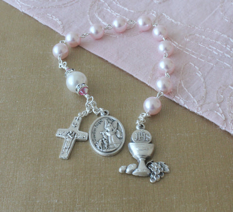 First Communion Chaplet, pink pearls, goddaughter gift