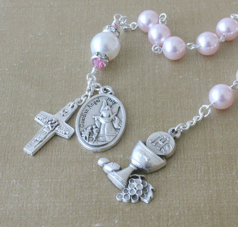 First Communion Pink Swarovski® Pearl Chaplet Rosary