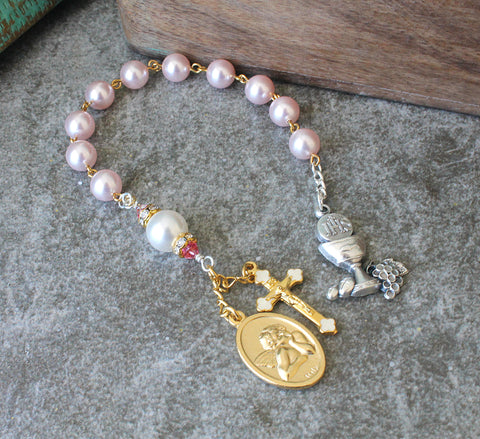 First Holy Communion Chaplet Rosary, Pink Pearls