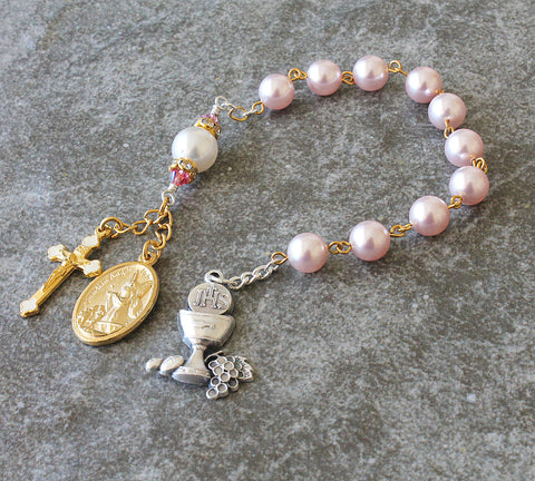 Swarovski Pearl 1st communion chaplet rosary, pink gold