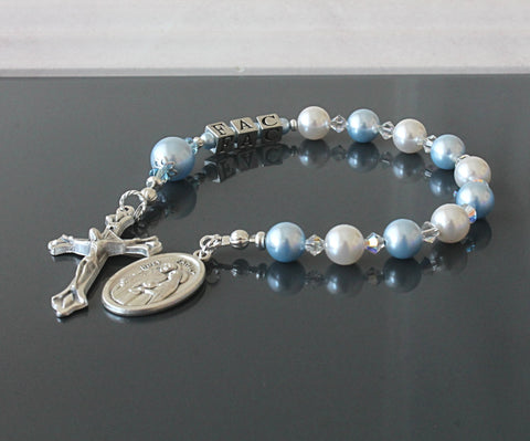 Baptism gift, blue white pearl chaplet, NZ made