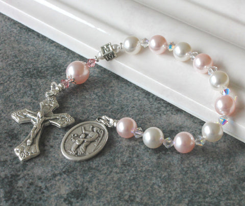 Pink & White Baby's Chaplet Rosary, Swarovski® Pearls
