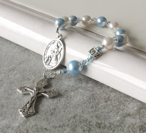 Blue white Swarovski pearl small rosary handmade New Zealand