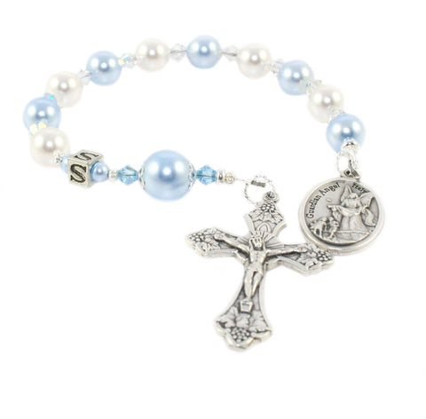 Guardian Angel Chaplet, Baby Gift - Blue & White Pearls