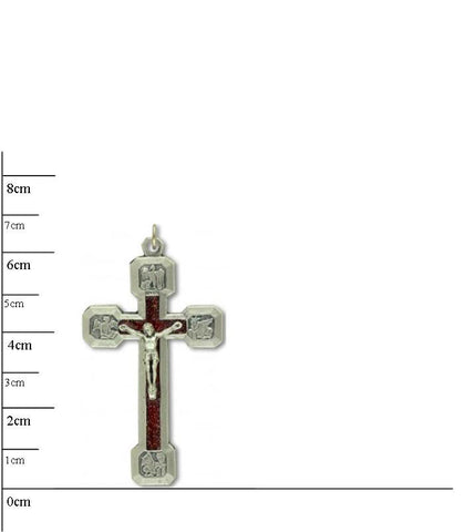 Stations of the Cross Crucifix, red inlay