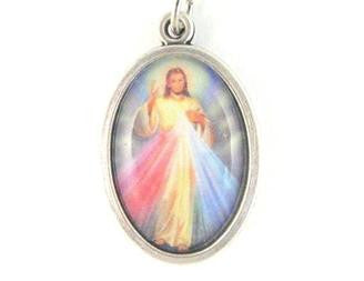 Divine Mercy Medal, Colour Image, Silver Frame