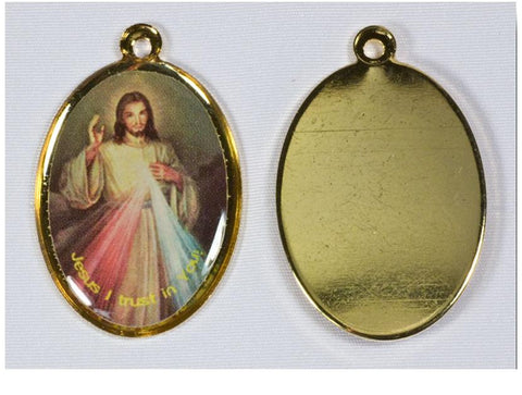 Divine Mercy medal, color image, gold tone frame with loop on top