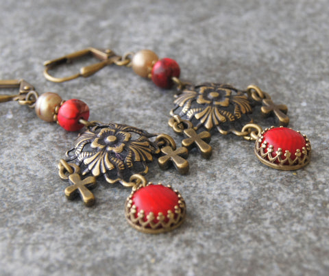 Renaissance Style Red Coral Earrings with Tiny Crosses
