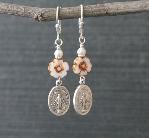 Miraculous Medal & White Flower Catholic Earrings