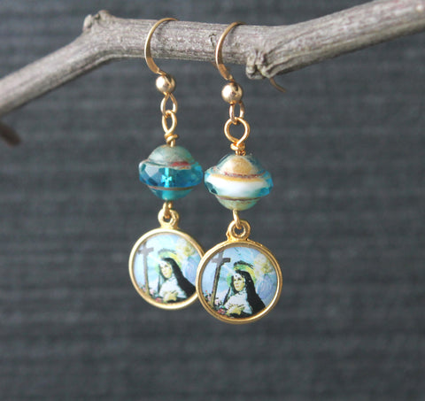St Rita Earrings, Czech Glass Beads