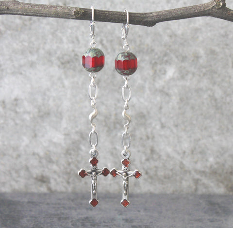 Elegant Long Cathlic Earrings in Red & Silver