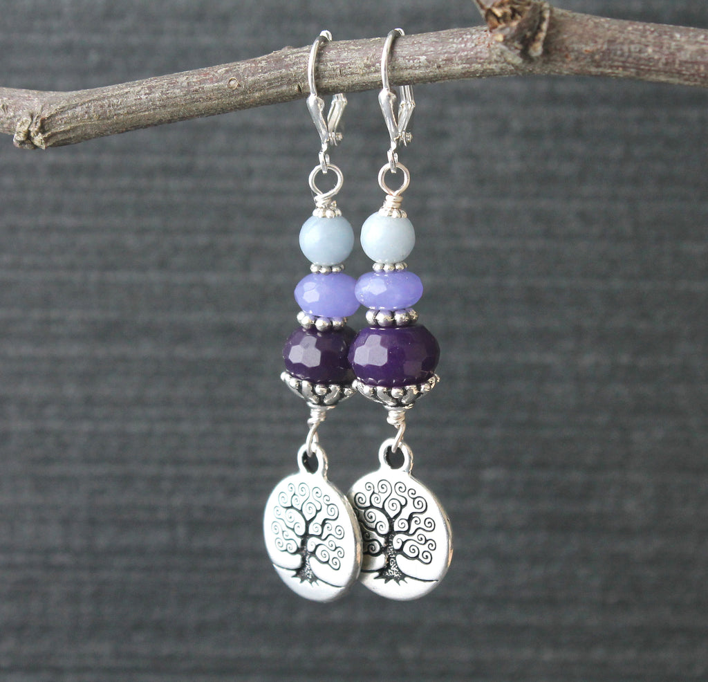 Tree of life purple jade earrings