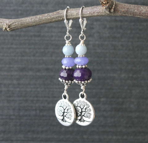 Tree of Life Earrings, Purple Jade & Blue Angelstone