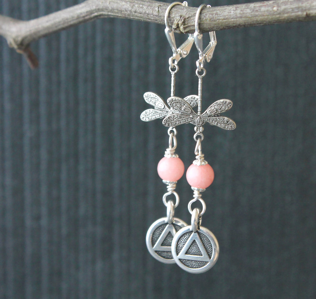 Pink jade dragonfly earrings, sobriety jewelry