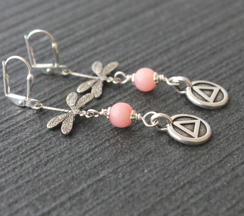 Pink Jade Dragonfly Earrings, Unity Symbol of Recovery