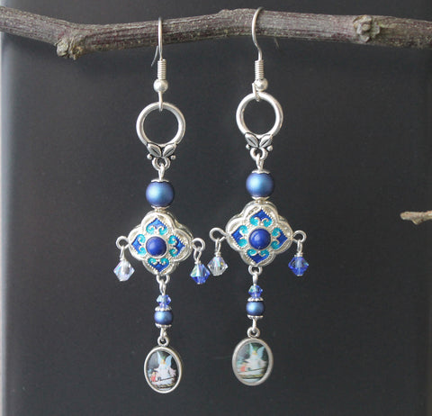 Guardian Angel Freshwater Blue Pearl Drop Earrings