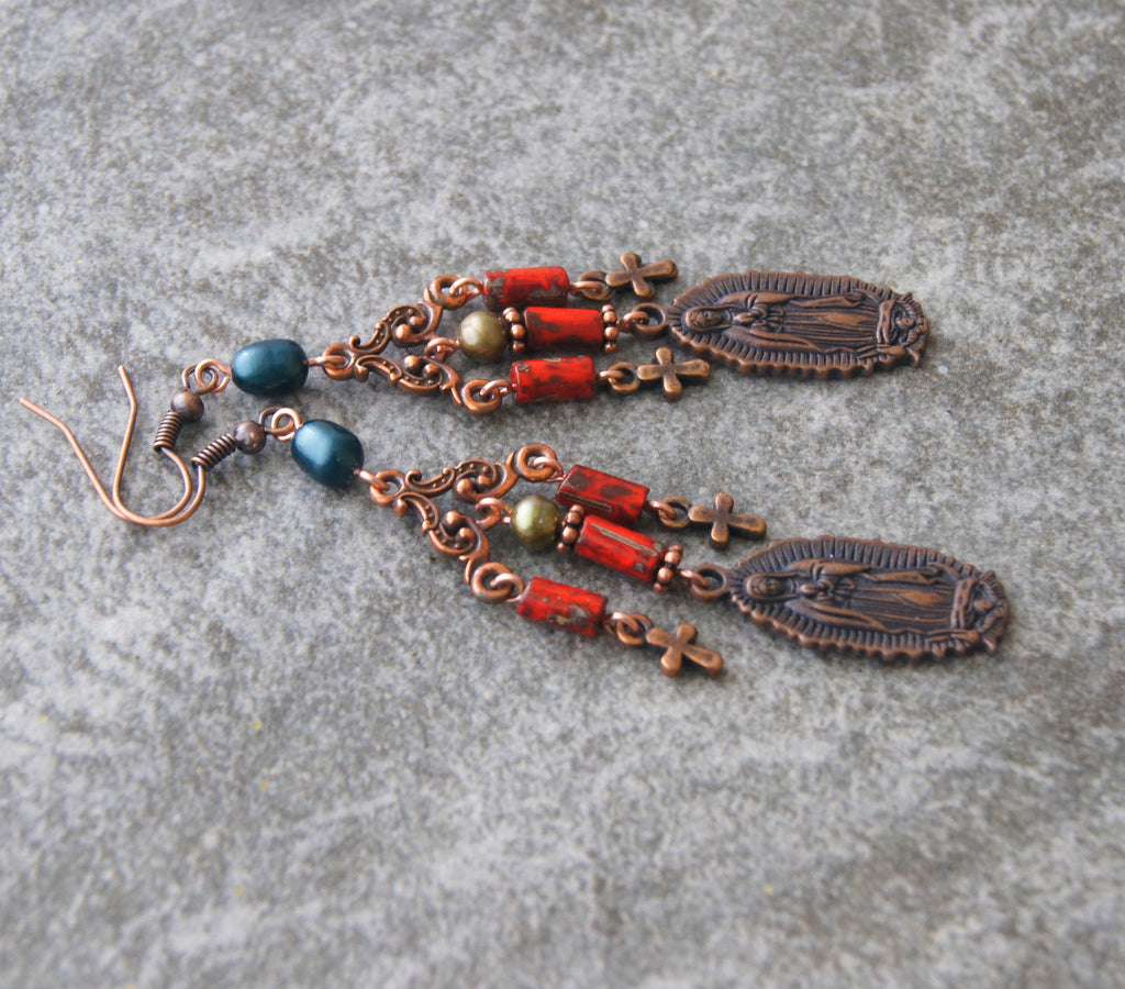 Our Lady of Guadalupe earrings, handmade in New Zealand