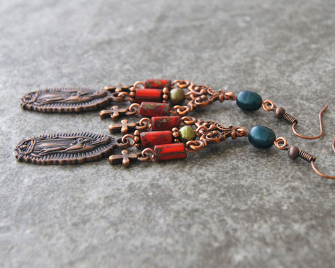 Our Lady of Guadalupe - Copper Chandelier Earrings