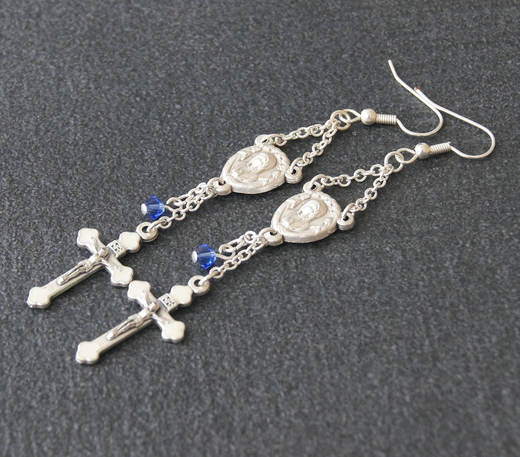 Virgin Mary dangle earrings with bluw crystal