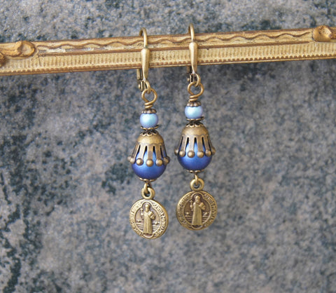 St Benedict Drop Earrings, Blue Swarovski Pearls