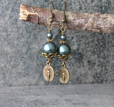 Miraculous Medal Swarovski Pearl Earrings in Brass