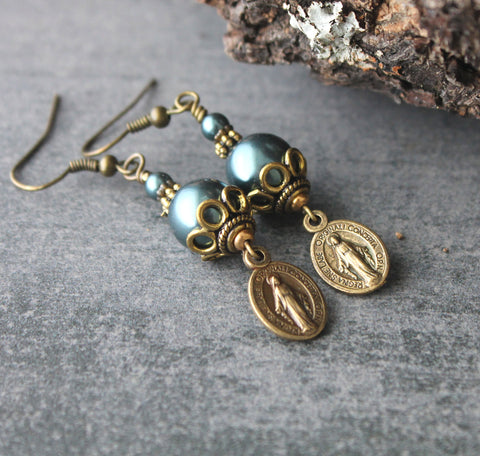 Virgin mary earrings, Tahitian Blue pearls, brass ear wires