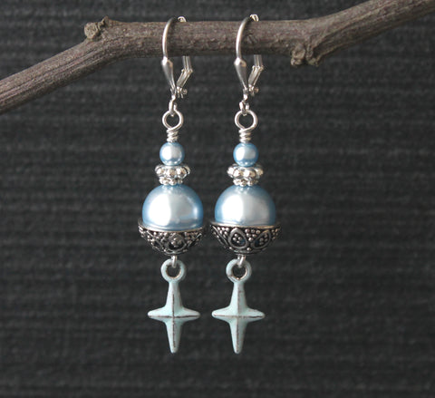 Bethlehem Star earrings, Blue Swarovski Pearls