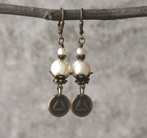 Swarovski Pearl Earrings, Unity Symbol of Recovery