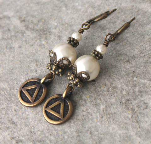 Recovery jewellery, 12 step sobriety gift earrings