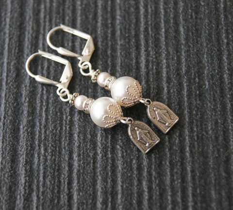 Miraculous Medal & Swarovski® Pearl Earrings - You Choose Color Pearls